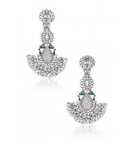 Silver Floral Peacock Glass Pearl Oversized Earrings