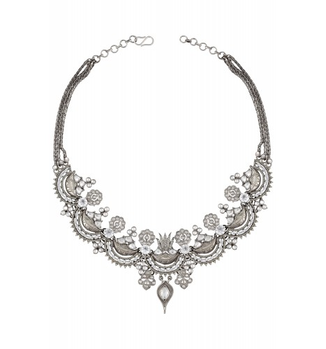 Silver Floral White Glass Necklace