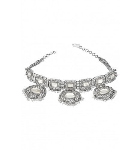 Silver Glass Studded Pearl Droplet Necklace