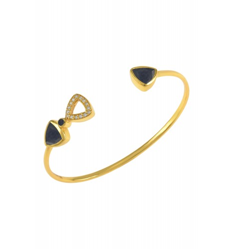Silver Gold Plated Trillion Blue Sapphire Bangle