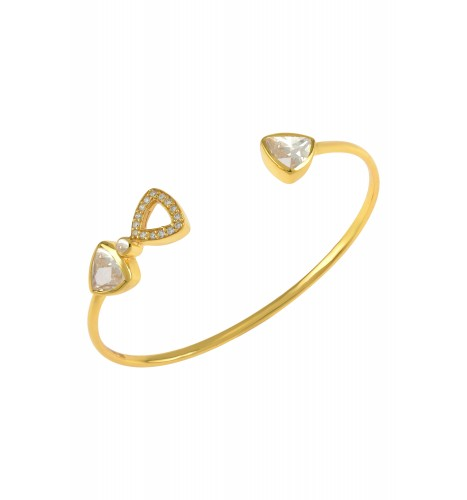 Silver Gold Plated Trillion Cubic Zirconia Bangle