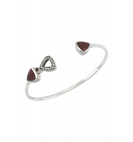 Silver Trillion Ruby Bangle