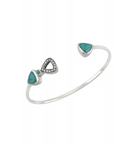 Silver Trillion Turquoise Bangle