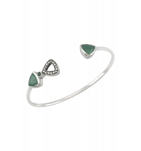 Silver Trillion Emerald Bangle