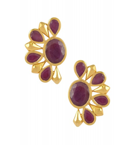 Silver Gold Plated Dyed Ruby Floral Ear Studs