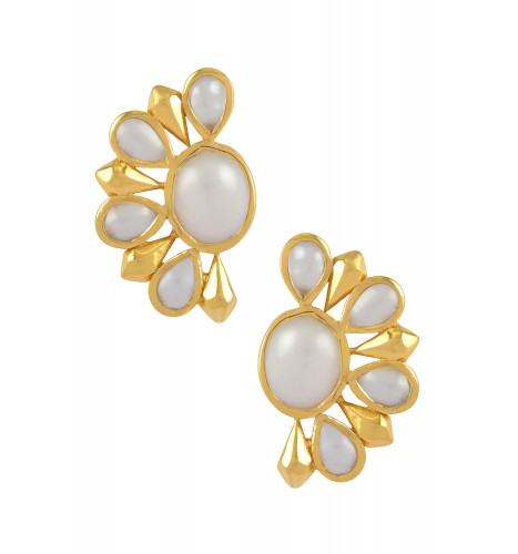 Silver Gold Plated Pearl Floral Ear Studs