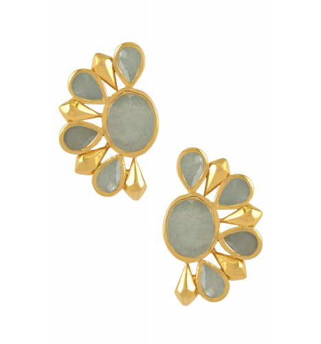 Silver Gold Plated Aquamarine Floral Ear Studs