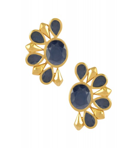 Silver Gold Plated Blue Sapphire Floral Ear Studs
