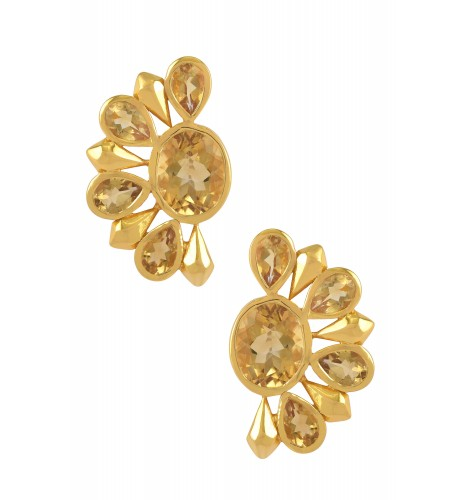 Silver Gold Plated Citrine Floral Ear Studs