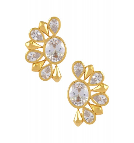 Silver Gold Plated Zircon Floral Ear Studs
