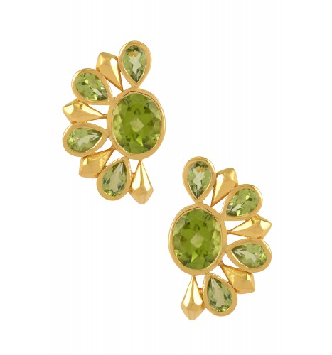 Silver Gold Plated Peridot Floral Ear Studs