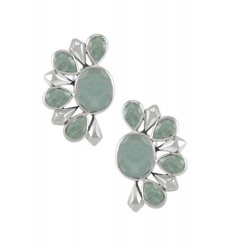 Silver Aquamarine Floral Ear Studs