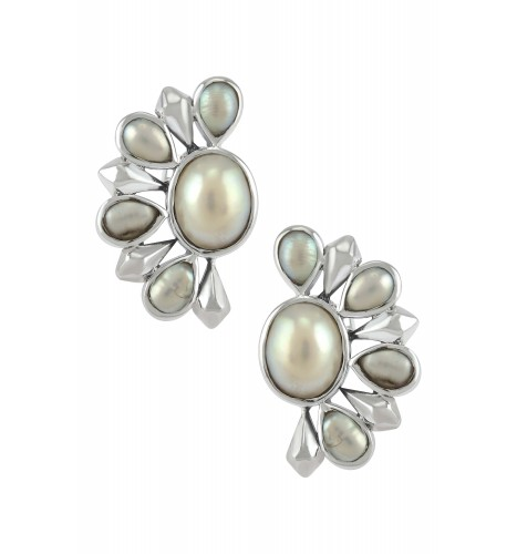 Silver Pearl Floral Ear Studs