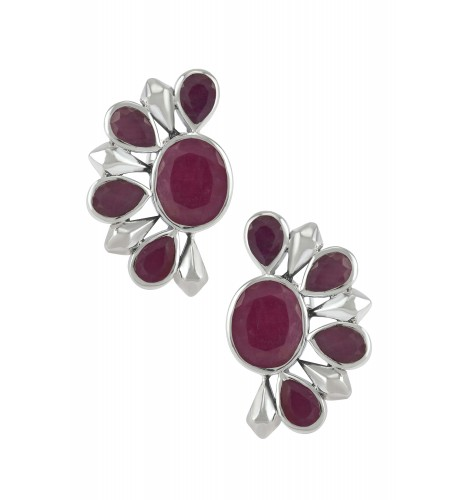 Silver Dyed Ruby Floral Ear Studs