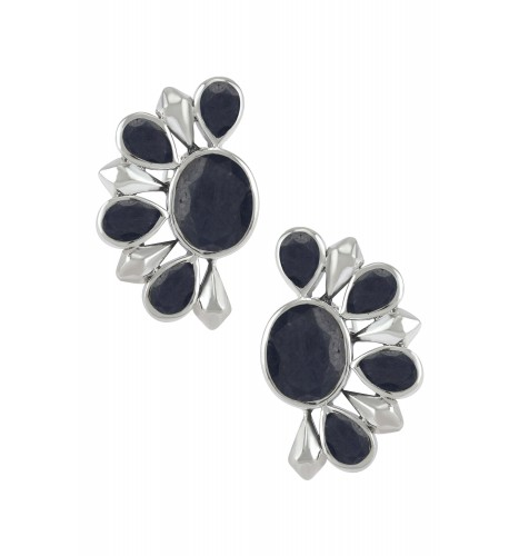 Silver Blue Sapphire Floral Ear Studs