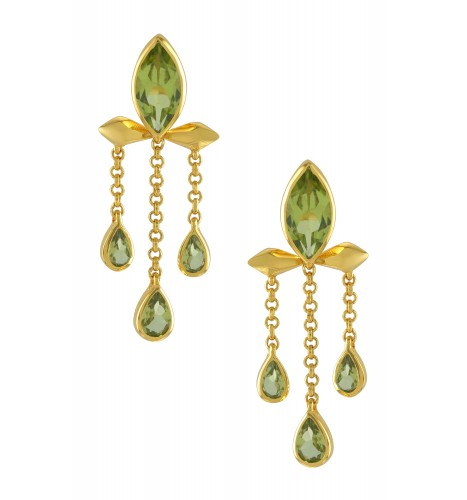 Silver Gold Plated Peridot Marquise Triple Drop Earrings