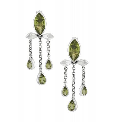 Silver Peridot Marquise Triple Drop Earrings