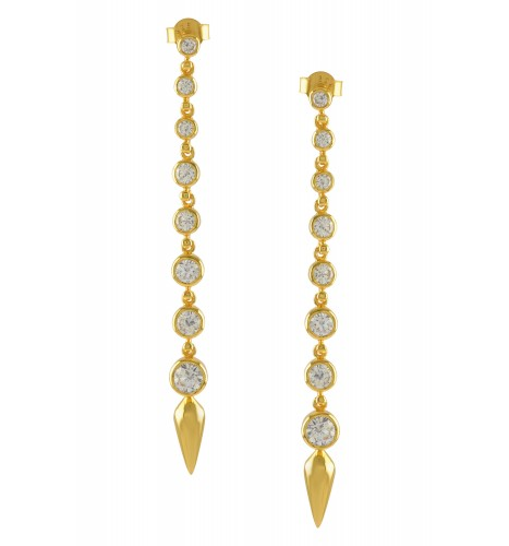 Silver Gold Plated Zircon Ascending Earrings
