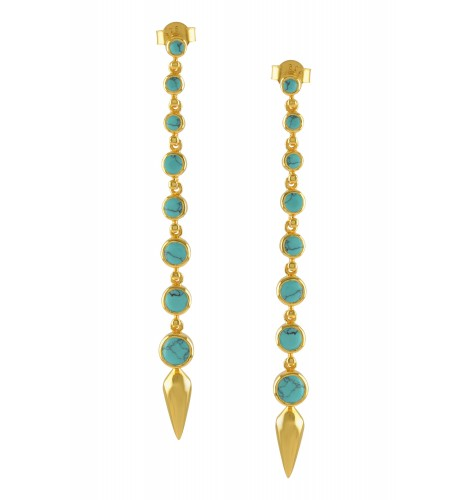 Silver Gold Plated Turquoise Ascending Earrings