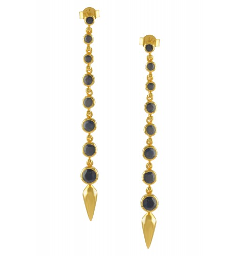Silver Gold Plated Blue Sapphire Ascending Earrings