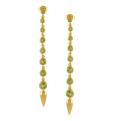 Silver Gold Plated Peridot Ascending Earrings