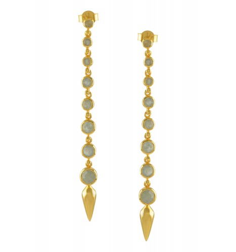Silver Gold Plated Aquamarine Ascending Earrings