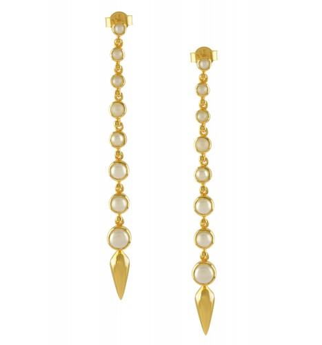 Silver Gold Plated Pearl Ascending Earrings