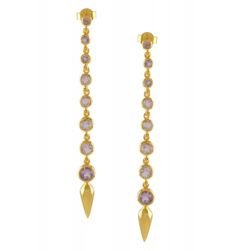 Silver Gold Plated Amethyst Ascending Earrings