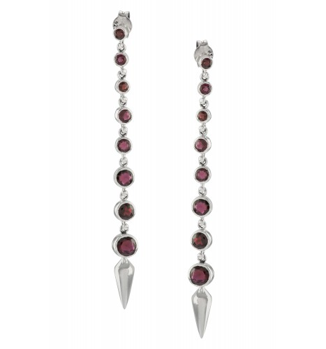 Silver Garnet Ascending Earrings