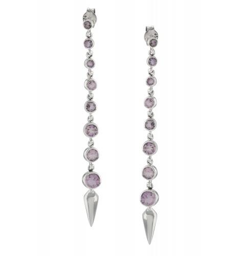 Silver Amethyst Ascending Earrings