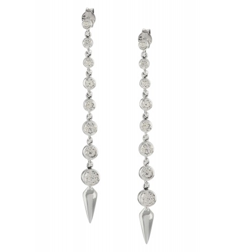 Silver Zircon Ascending Earrings