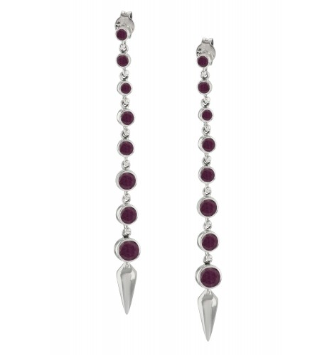 Silver Dyed Ruby Ascending Earrings