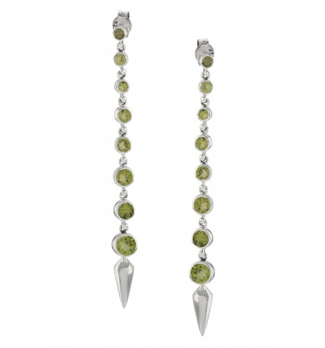 Silver Peridot Ascending Earrings