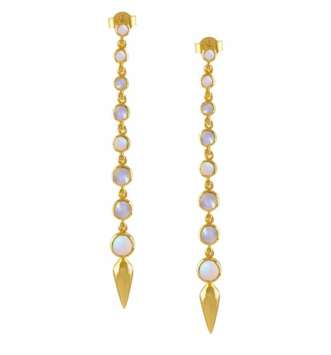 Silver Gold Plated Opal Ascending Earrings