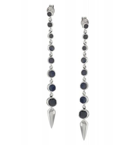 Silver Blue Sapphire Ascending Earrings
