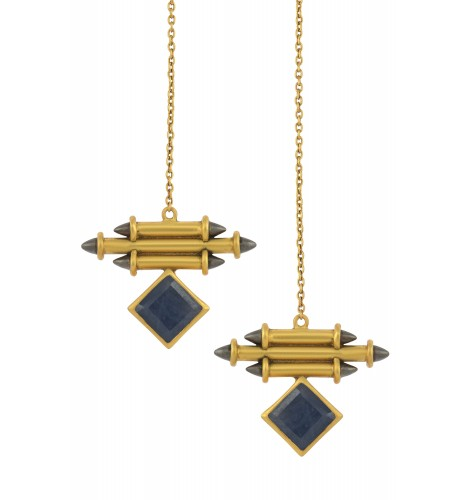 Silver Gold Plated Blue Sapphire Front Back Earrings