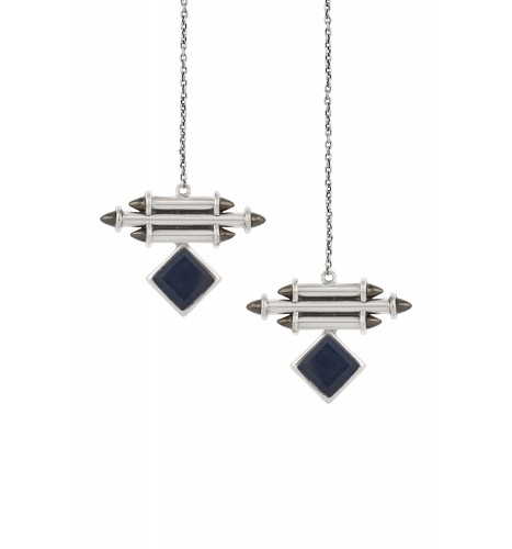 Silver Blue Sapphire Front Back Earrings