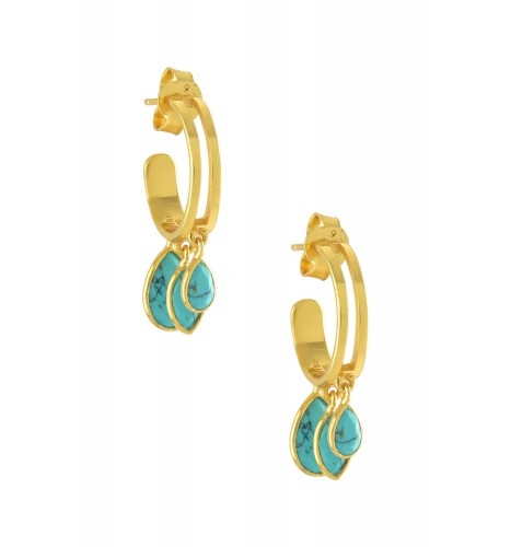 Silver Gold Plated Pear Marquise Turquoise Hoop Earrings