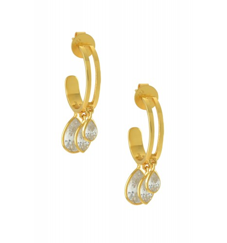 Silver Gold Plated Pear Marquise Zircon Hoop Earrings