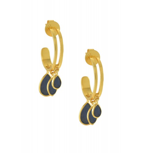 Silver Gold Plated Pear Marquise Blue Sapphire Hoop Earrings