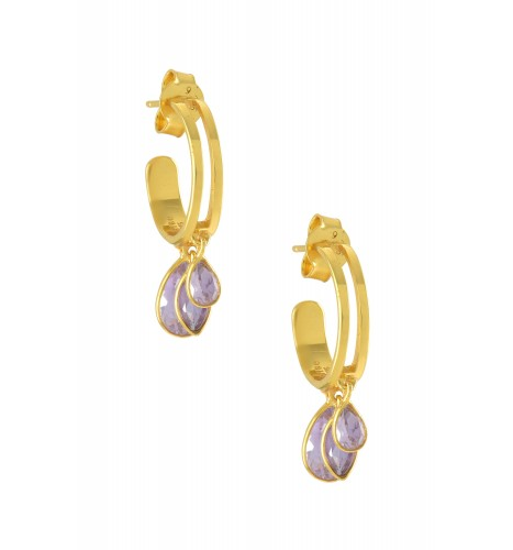 Silver Gold Plated Pear Marquise Amethyst Hoop Earrings