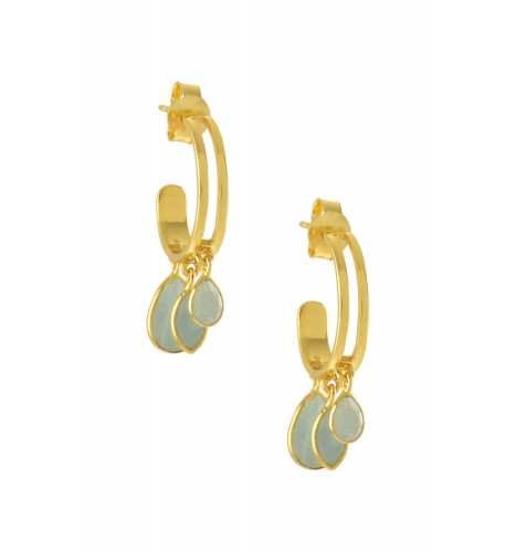 Silver Gold Plated Pear Marquise Aquamarine Hoop Earrings