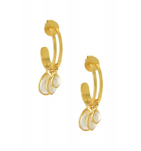Silver Gold Plated Pear Marquise Pearl Hoop Earrings