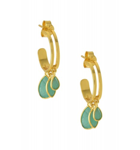 Silver Gold Plated Pear Marquise Emerald Hoop Earrings
