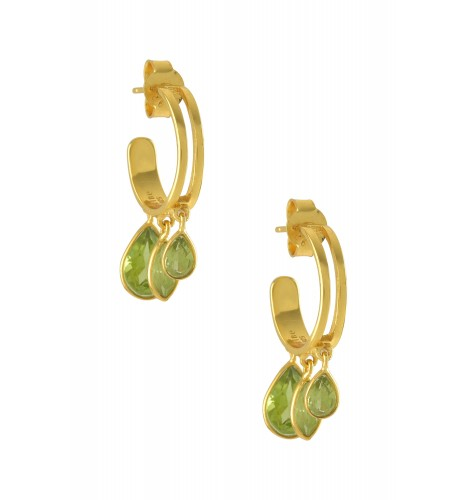 Silver Gold Plated Pear Marquise Peridot Hoop Earrings