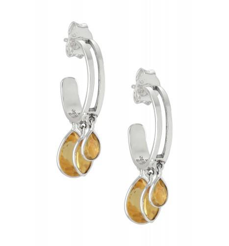 Silver Pear Marquise Citrine Hoop Earrings