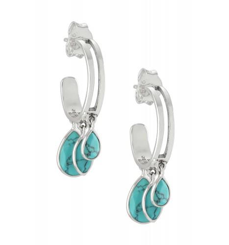 Silver Pear Marquise Turquoise Hoop Earrings