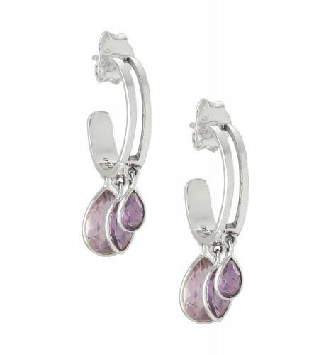 Silver Pear Marquise Amethyst Hoop Earrings