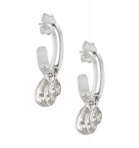 Silver Pear Marquise Zircon Hoop Earrings