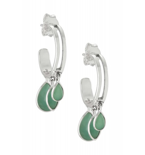 Silver Pear Marquise Emerald Hoop Earrings